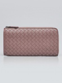 Bottega Veneta Deco Rose Intrecciato Woven Nappa Leather Zip Around Wallet