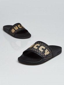 Gucci Black Coated Canvas and Rubber GUCCY Pool Slides Size 3.5/34