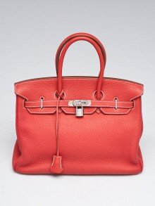 Hermes 35cm Bi-Color Sanguine/White Clemence Leather Palladium Plated Birkin Bag