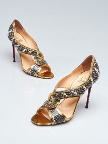 Christian Louboutin Gold Leather and Roccia Ayers Snake Suzanna 100 Peep Toe Pumps Size 8/38.5