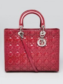 Christian Dior Dark Pink Quilted Cannage Patent Leather Large Lady Dior Bag