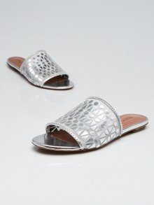 Alaïa Silver Leather/Mesh Slide Sandals Size 6/36.5