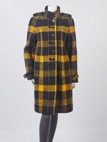 Burberry Black/Yellow Buffalo Plaid Wool Long Coat Size 12/46