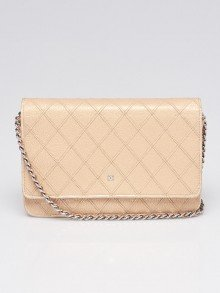 Chanel Gold Diamond Stitched Leather CC WOC Clutch Bag