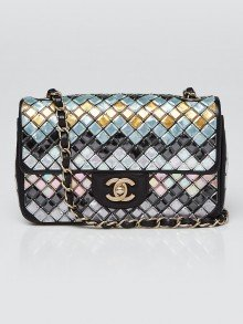 Chanel Black Multicolor Mosaic Embroidered New Mini Flap Bag