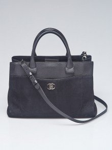 Chanel Black Grained Calfskin Leather and Nubuck Neo Executive Small Tote Bag