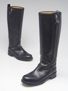 Hermes Black Calfskin Leather Land Tall Boots Size 6/36.5