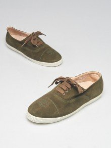 Chanel Green Suede CC Cap Toe Flat Sneakers Size 6.5/37