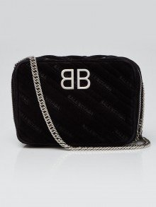 Balenciaga Black Velvet BB Reporter XS Crossbody Bag