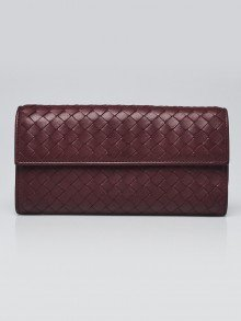 Bottega Veneta Burgundy Intrecciato Woven Nappa Leather Continental Wallet