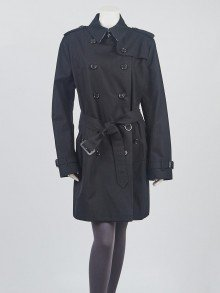 Burberry Black Cotton Gabardine Buckingham Trench Coat Size 16