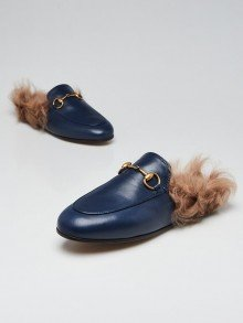 Gucci Blue Leather and Fur Princetown Mules Flats Size 3.5/34