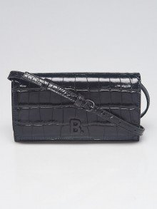 Balenciaga Black Embossed Croc Effect Leather Touch Shoulder Bag