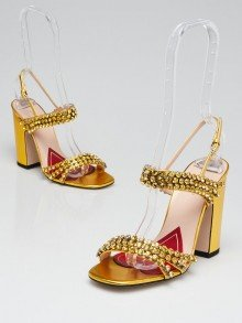 Gucci Gold Leather and Crystal Embellished Block Heel Sandals Size 5/35.5