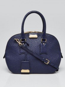 Burberry Blue Grained Check Leather Small Orchard Satchel Bag