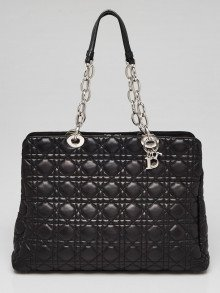 Christian Dior Black Cannage Quilted Lambskin Leather Dior Shopping Tote Bag