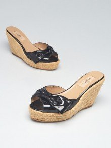 Valentino Black Patent Leather Espadrille Bow Wedges Size 5.5/36