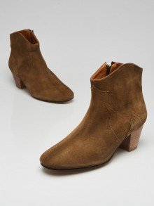 Isabel Marant Brown Suede Dicker Ankle Boots Size 7.5/38