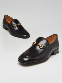 Gucci Black Leather Horsebit Quentin Loafers Size 10.5/41
