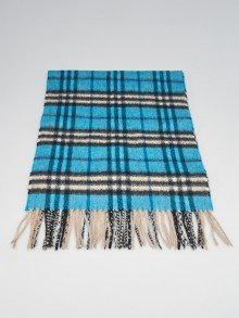 Burberry Blue Cashmere and Wool Blend House Check Fringe Scarf
