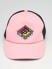 Burberry Pink/Black Terry Cloth Trucker Hat Size XL
