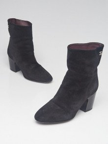 Black Suede CC Ankle Boots Size 9/39.5