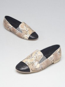 Chanel Beige/Silver Python CC Cap Toe Loafer Flats Size 7.5/38