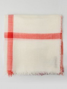 Burberry White/Pink Wool and Silk Classic Check Square Scarf