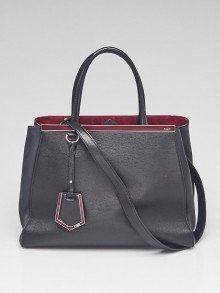 Fendi Black Saffiano Leather Medium 2Jours Elite Tote Bag 8BH250