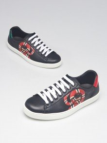 Gucci Black Leather Kingsnake Ace Sneakers Size 5.5/36
