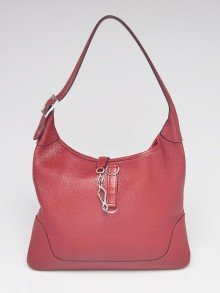 Hermes 35cm Rouge Grenat Clemence Leather Palladium Plated Trim I Bag