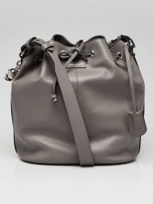 Alexander McQueen Graphite Pebbled Leather Skull Padlock Crossbody Bucket Bag