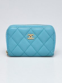 Chanel Light Blue Quilted Lambskin Leather O-Zip Coin Purse