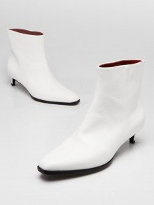 3.1 Phillip Lim White Leather Agatha Ankle Boots Size 7/37.5