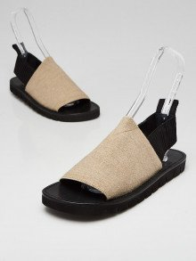 3.1 Phillip Lim Beige/Black Canvas Flat Sandals Size 10.5/41