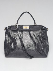 Fendi Black Crinkled Patent Leather Large Peekaboo Satchel Bag - 8BN210