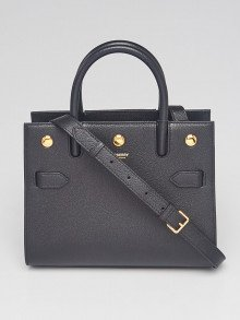Burberry Black Pebbled Leather Baby Title Tote Bag