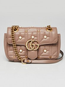 Gucci Beige Quilted Leather and Imitation Pearl 2.0 Marmont Mini Shoulder Bag