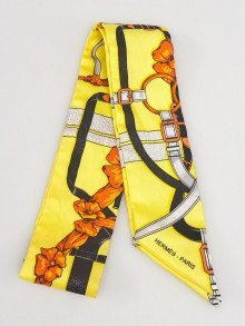 Hermes Yellow Multicolor Printed Silk Twilly