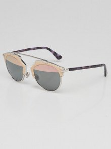 Christian Dior Beige Leather Tortoise Shell Acetate So Real L Brow Bar Sunglasses