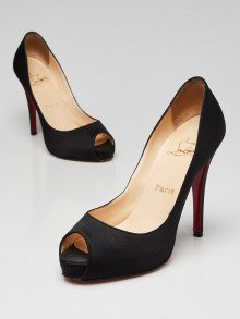 Christian Louboutin Black Silk Very Prive 120 Pumps Size 6.5/37