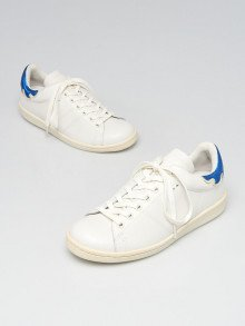 Isabel Marant White/Blue Leather Bart Low-Top Sneakers Size 5.5/36