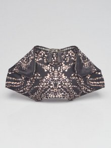 Alexander McQueen Black/White Diamonds Printed Silk De Manta Clutch Bag