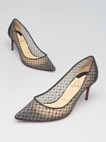 Christian Louboutin Black Lace Pointed Toe-Pumps Size 4.5/35