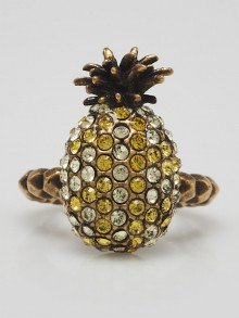 Gucci Jonquil and Topaz Crystal Studded Pineapple Ring Size 6.5