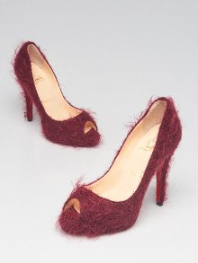 Christian Louboutin Berry Red Mohair Very Prive Peep Toe Pumps Size 5.5/36