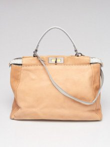 Fendi Beige/Light Blue Selleria Leather Large Peekaboo Bag 8BN210