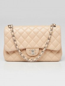 Chanel Beige Quilted Lambskin Leather Classic Jumbo Double Flap Bag