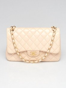 Chanel Beige Quilted Lambskin Leather Classic Maxi Double Flap Bag