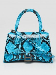 Balenciaga Blue Snakeskin Embossed Leather Hourglass Small Top Handle Bag